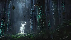 خلفية الغزلان الغابات ليلة توهج الفن العشب الأشجار