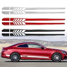 1 Pair Car Side Stickers Body Decals Sticker Long Stripes For Mercedes Benz C Racing Wish