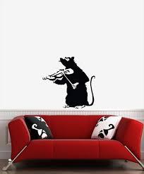 Wall Banksy Style Violin Rat Wall Vinyl Decal Etsy
