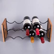 acacia wood and black wire wine rack