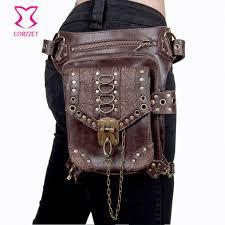 brown pu leather gothic rock leg bag