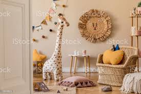 Stylish Scandinavian Interior Of Child Room With Natural Toys Hanging Decoration Design Furniture Plush Animals Teddy Bears And Accessories Beige Walls Interior Design Of Kid Room Template Stock Photo Download Image