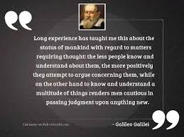 long experience has taught me inspirational quote by galileo