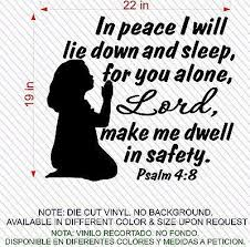 Christian Home Decor Wall Decal Bible Scripture Psalm 4 8 Girl Jeyfel
