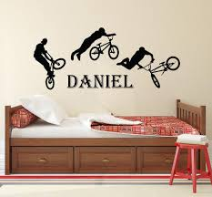 Teen Boys Name Decal Bmx Freestyle Jumping Bike Vinyl Wall Sticker Custom Personalized Name Kids Teens Boys Room Decor Decals Create Wall Decals Create Wall Stickers From Joystickers 11 75 Dhgate Com