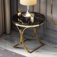 white faux marble side table x base end