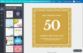 Crea Invitaciones De 50 Anos Para Mujer Gratis Canva