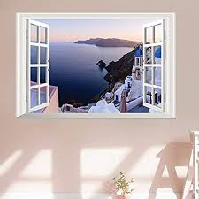 Amazon Com Home Find Fake Window Wall Stickers Santorini Wall Decal 3d Murals View Of Scenery Window Frame Glass Wall Stickers Bedroom Girls Room Nursery Removable Vinyl Home Decorations 23 Inches X 16