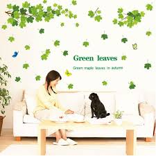 Green Maple Leaves Wall Decals Leaves Vinyl Wall Decals Etsy