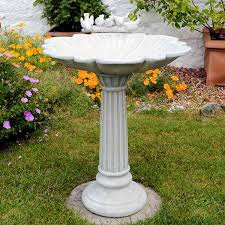 fluted resin bird bath garden