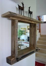 reclaimed wood mirror shelf rack