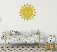 Gold Smiling Sun Vinyl Decal Gold Sun Vinyl Wall Art Sun Etsy