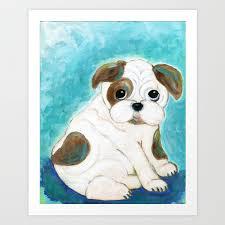 Bulldog Puppy Painting Dog Painting Kid S Room Decor Dog Lover Animal Art Art Print By Jilllambert Society6