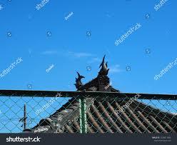 Roof Japanese Shrine Fence Front Blue Buildings Landmarks Stock Image 1233611842