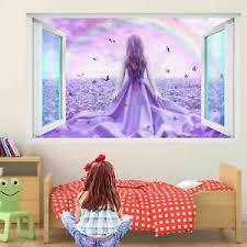 Butterfly Girl Rainbow Flowers 3d Wall Sticker Decal Poster Kids Room Decor Ds1 Ebay