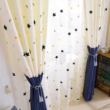 Kids Curtains Embroidery Star Moon Contracted Contemporary Stitching Window Curtains For Children Bedroom Screening Baby Room The Curtain Window Curtainscurtain Room Aliexpress
