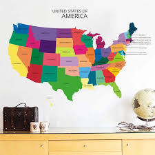 New Design Usa Map Wall Sticker Decal Vinyl Home Office Wall Decor Mural Retro Art Map Of The America Wallpaper Removable Wall Stickers Aliexpress