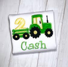 Bordado Tractor 2o Cumpleanos Camisa Tractor Bordado Tirando Etsy
