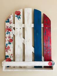 Red White And Blue Picket Fence Wall Decor Pallet Wood Hanging Pallet Wood Wall Decor Wood Wall De Floral Wood Wall Decor Wood Wall Decor Wood Pallet Wall