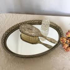 vintage gold mirrored dresser tray