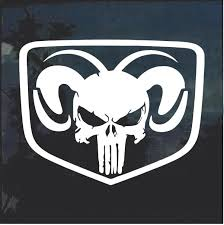 Dodge Ram Head Shield Punisher Skull Decal Sticker Aftermarket Replacement Non Factory Custom Sticker Shop