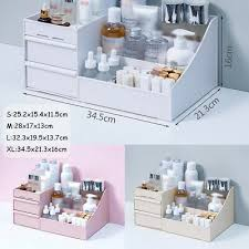 makeup organiser with drawers white