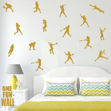 Softball Decals Wall Decor 30 Silhouette Stickers Girls Kids Etsy