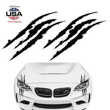 2pcs 15 Black Monster Claw Marks Decal Reflective Sticker For Car Headlight New Ebay