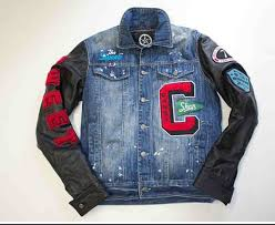 mens jean jacket with custom patches