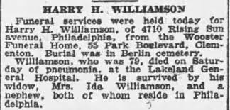 Obituary for HAKRY H. WILLIAMSON Williamson (Aged 79) - Newspapers.com