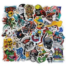Skull Stickers 100pcs Punk Rock Pirate C Buy Online In Bahamas At Desertcart