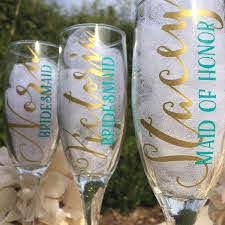 Name Decal For Champagne Glasses Bridesmaid Gifts Diy Etsy Wedding Gifts For Bridesmaids Diy Bridesmaid Gifts Bridesmaid Glasses