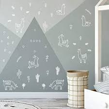 Amazon Com Wall Vinyl White Alpaca Animal And Cactus Decal 50 Pcs Nursery Decor Original Artist Design Adhesive Animals Sticker For Kids Baby Nordic Lama Cacti Flowers Triangles Bedroom Decoration Home