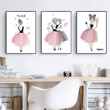 Cute Cartoon Girl Watercolor Pink Canvas Art Print Poster Kids Room Wall Decor Ebay