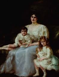Portrait of Ada Scott and her two children by Charles Goldsborough ...