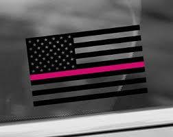 Rugged American Flag Skull Hot Pink Line Vinyl Sticker Decal Breast Cancer