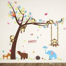 Cartoon Monkey Owl Forest Wall Sticker Murals Diy Vinyl Large Woodland Wall Art Decals For Kids Room And Nursery Decoration Decorative Wall Clings Decorative Wall Decals From Qiansuning888 20 69 Dhgate Com