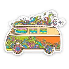 Peace Van Hippie Style Large Size Vinyl Sticker Decal For Truck Car Cornhole Board Sticker 16 Walmart Com Walmart Com