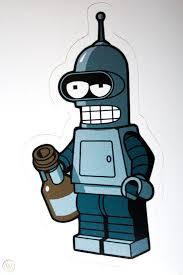 Lego Drunk Bender Vinyl Sticker Decal Hq Futurama Check It Out Rare 1727646660