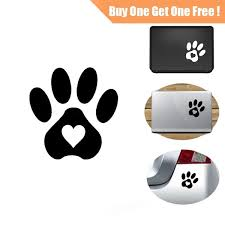 2pcs 11 5 11 5cm Pet Dogs And Cats Paw Prints Heart Of Car Decal For Ipad Apple Laptop Sticker Cars Auto Window Bumper Vinyl Tablet Xmas Gift Home Decor Stickers Wish