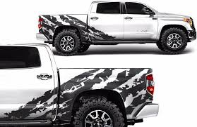 Amazon Com Factory Crafts Shred Side Graphics Kit 3m Vinyl Decal Wrap Compatible With Toyota Tundra Crew Cab 2014 2020 Matte Black Arts Crafts Sewing