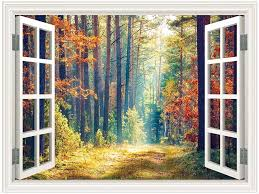 Sumgar 3d Wall Mural Woodland Autumn Window Views Wall Art Self Stick Decals For No Window Rooms 48x36 Inch Amazon Com