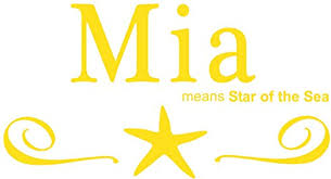 Amazon Com Mia Girls Name Wall Decal Is A Vinyl Wall Decal Displaying The Meaning Of The Name Mia Which Means Star Of The Sea Yellow Home Kitchen