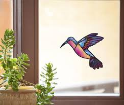 The Decal Store Com By Yadda Yadda Design Co Wnd 110 Blue Rainbow Hummingbird Stained Glass Style Vinyl Decal F