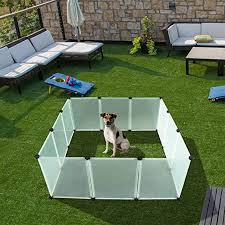 Expawlorer Pet Playpen For Puppy Plastic Indoor Yard Fence Durable And Large Space For Small Animals With 12 Pcs Transparent Panels Amazon Ca Pet Supplies