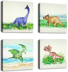 Amazon Com Yearainn Dinosaur Wall Art Framed Canvas Wall Art Nursery Canvas Pictures Children Bedroom Wall Decor Modern Animal Canvas Artwork 12 X 12 X 4 Pieces Posters Prints
