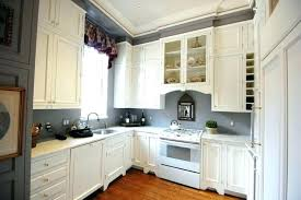 gray kitchen walls with oak cabinets