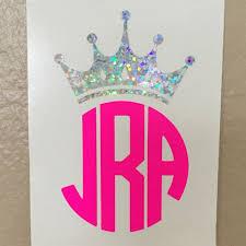 Crown Monogram Decal Tiara Initials Sticker Vinyl Queen Monogram Decal Monogram Decal Vinyl Monogram Initials Sticker
