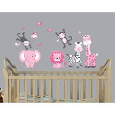 Pink Gray Zoo Wall Stickers For Children