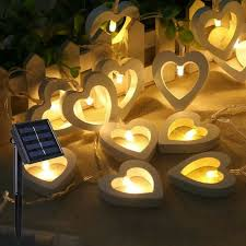 set 10 rattan heart solar string lights